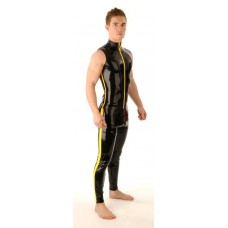 SR34 Latex Swiss T-shirt Front Zip Sleeveless & Leggings Thru Zip Set